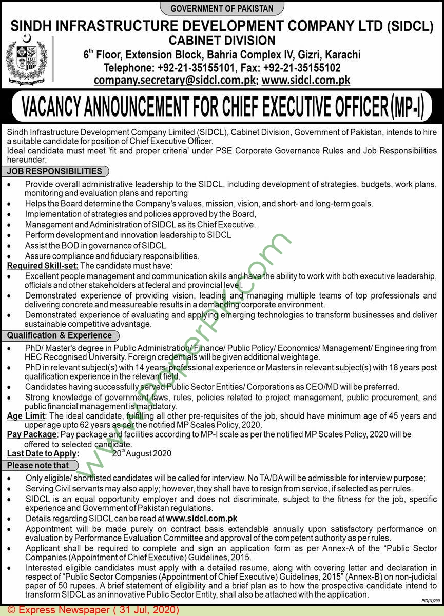 Sindh Infrastructure Development Company Limited jobs newspaper ad for Chief Executive Officer in Karachi