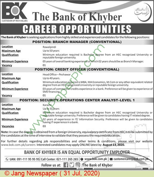 The Bank Of Khyber jobs newspaper ad for Security Operations Center Analyst in Peshawar