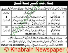 Pakistan Army jobs newspaper ad for Auto Electrician in Karachi