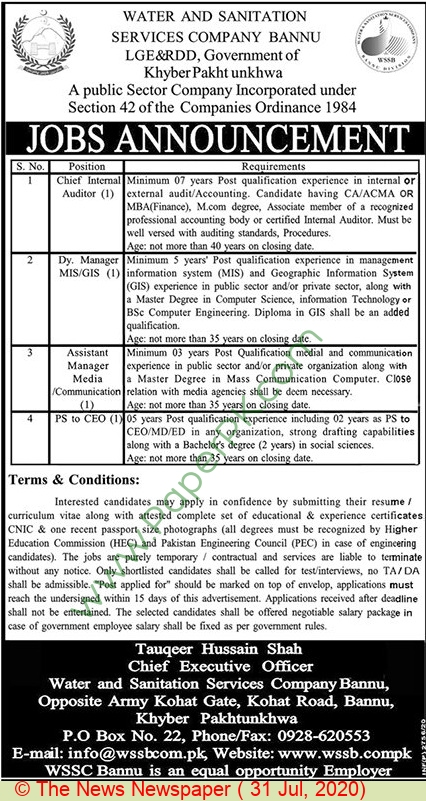 Water & Sanitation Services Company jobs newspaper ad for Chief Executive Officer in Bannu