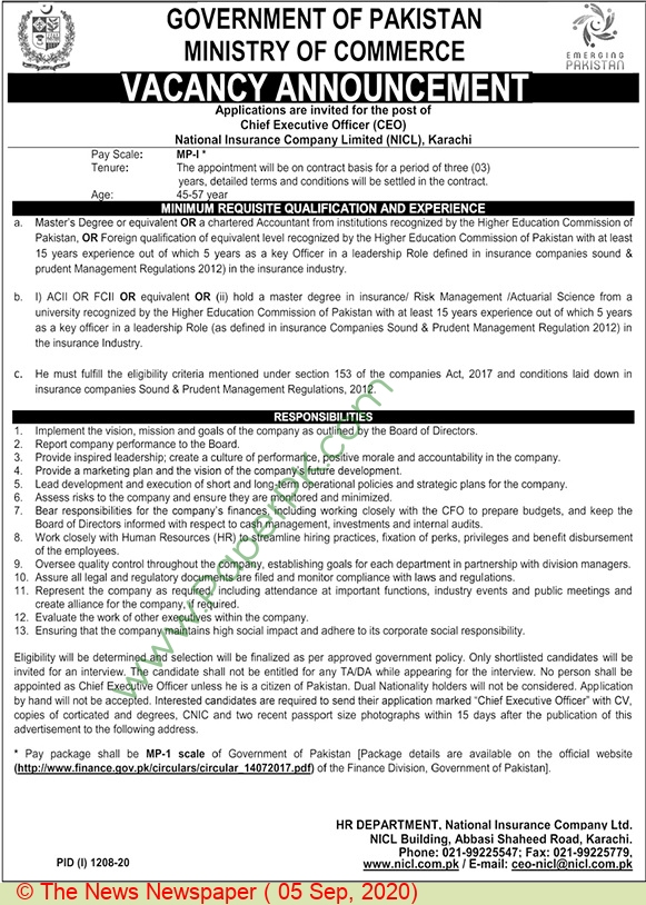 National Insurance Company Limited jobs newspaper ad for Chief Executive Officer in Karachi on 2020-09-05