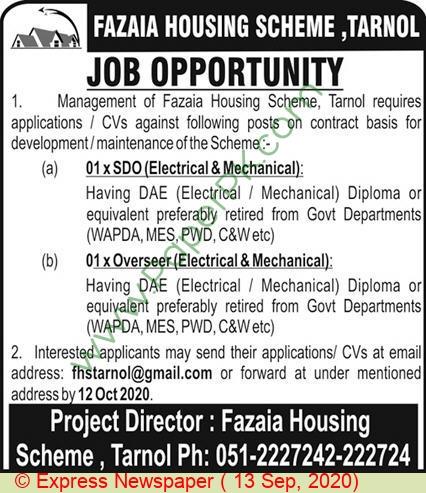 Fazaia Housing Scheme jobs newspaper ad for Sdo in Islamabad
