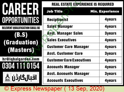 Iqbal Garden jobs newspaper ad for Sales Manager in Lahore