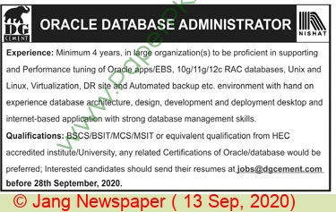 Dera Ghazi Khan Cement Company Limited jobs newspaper ad for Oracle Database Administrator in Lahore