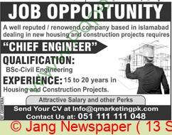 Islamabad Based Company jobs newspaper ad for Chief Engineer in Islamabad