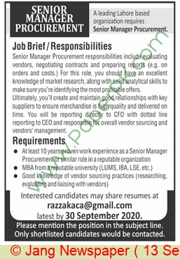 Lahore Based Company jobs newspaper ad for Senior Manager Procurement in Lahore