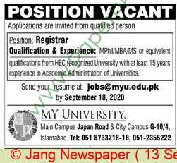 My University jobs newspaper ad for Registrar in Islamabad