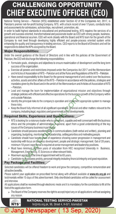 National Testing Service jobs newspaper ad for Chief Executive Officer in Islamabad