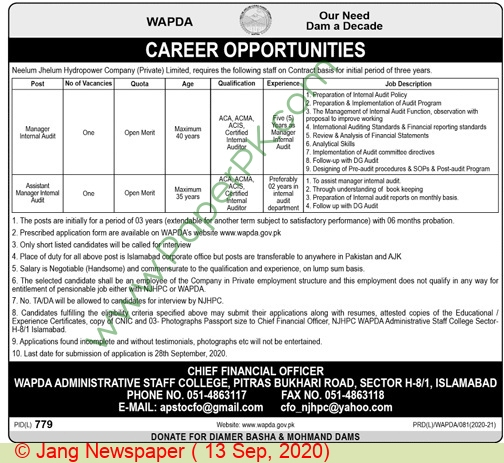 Water and Power Development Authority jobs newspaper ad for Manager Internal Audit in Islamabad