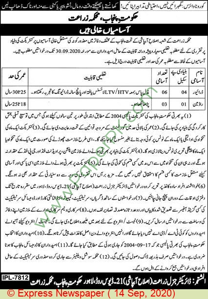 Agriculture Department jobs newspaper ad for Radman in Lahore