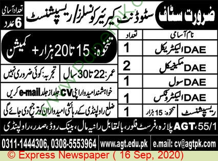 Agt Institute Of Technical And Professional Education jobs newspaper ad for Receptionist in Rawalpindi