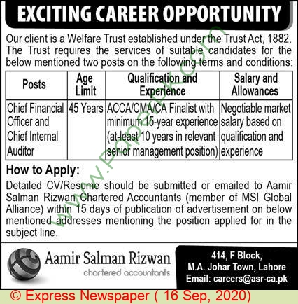 Aamir Salman Rizwan Chartered Accountants jobs newspaper ad for Chief Internal Officer in Lahore