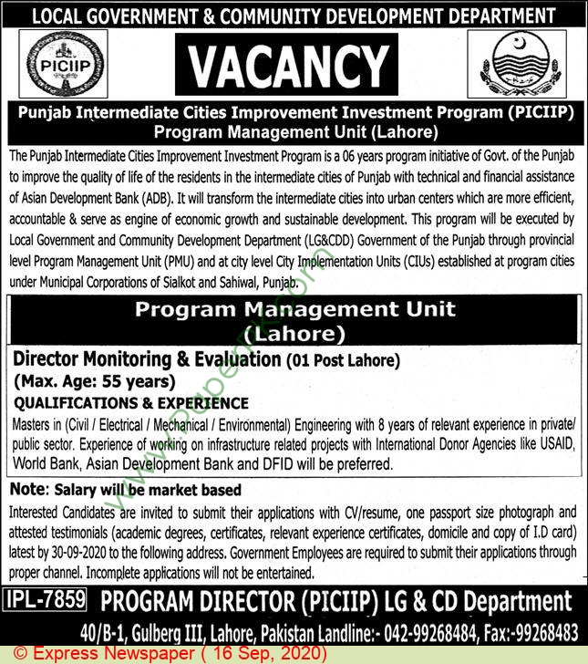 Local Government & Community Development Department jobs newspaper ad for Director Monitoring & Evaluation in Lahore