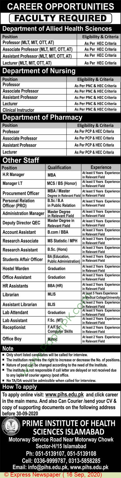 Prime Institute Of Health Sciences jobs newspaper ad for Librarian in Islamabad