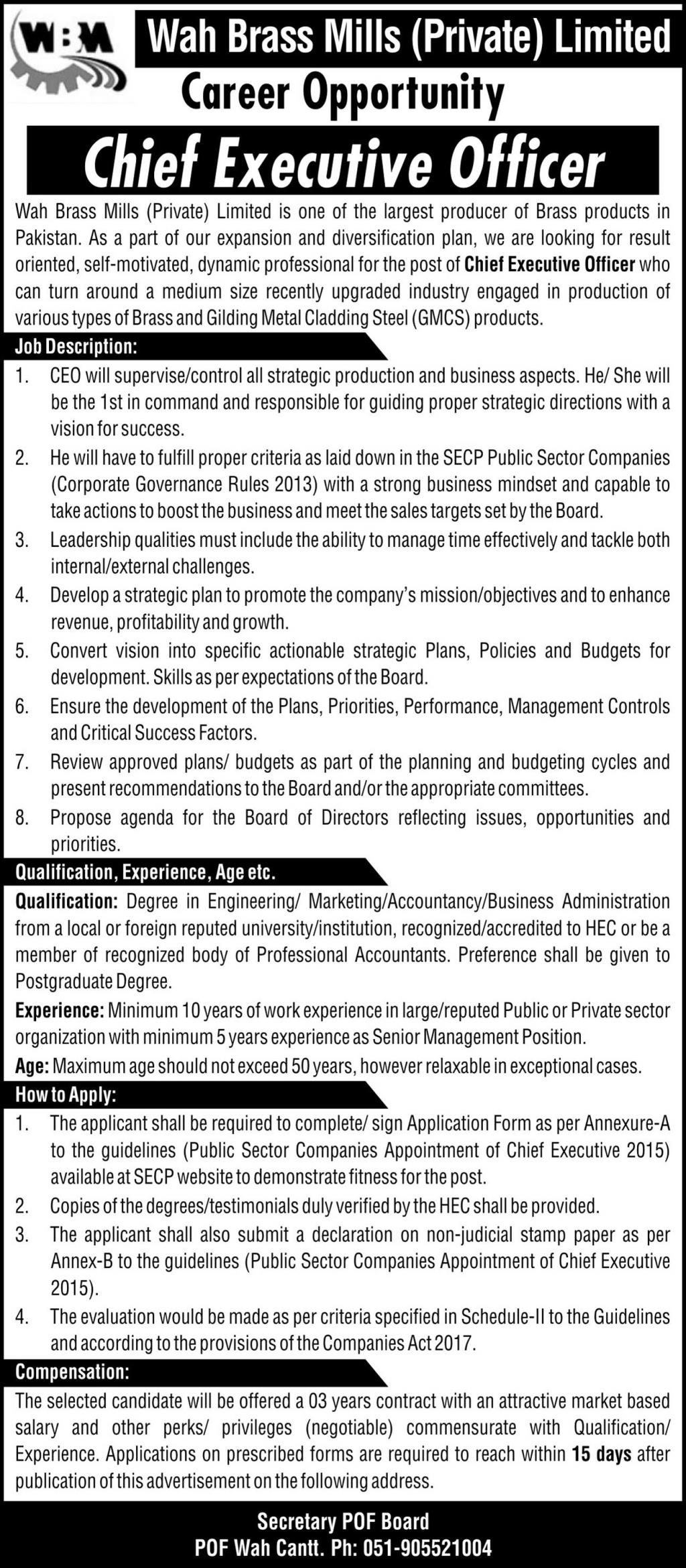 Wah Brass Mills Private Limited jobs newspaper ad for Chief Executive Officer in Wah