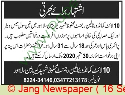 Mess Waiter jobs in Lahore at Pakistan Army