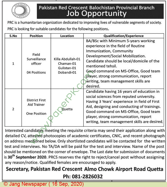 Pakistan Red Crescent Society jobs newspaper ad for District First Aid Trainer in Quetta
