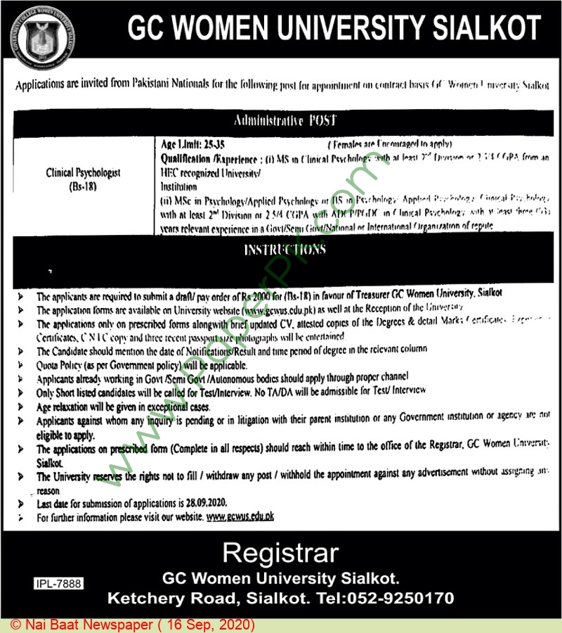 Government College Women University jobs newspaper ad for Clinical Psychologist in Sialkot