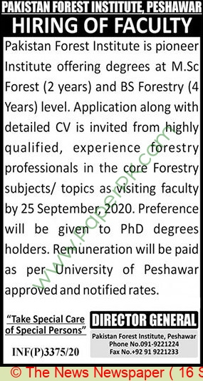 Pakistan Forest Institute jobs newspaper ad for Faculty Staff in Peshawar