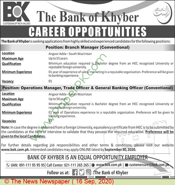 The Bank Of Khyber jobs newspaper ad for Operation Manager in Peshawar