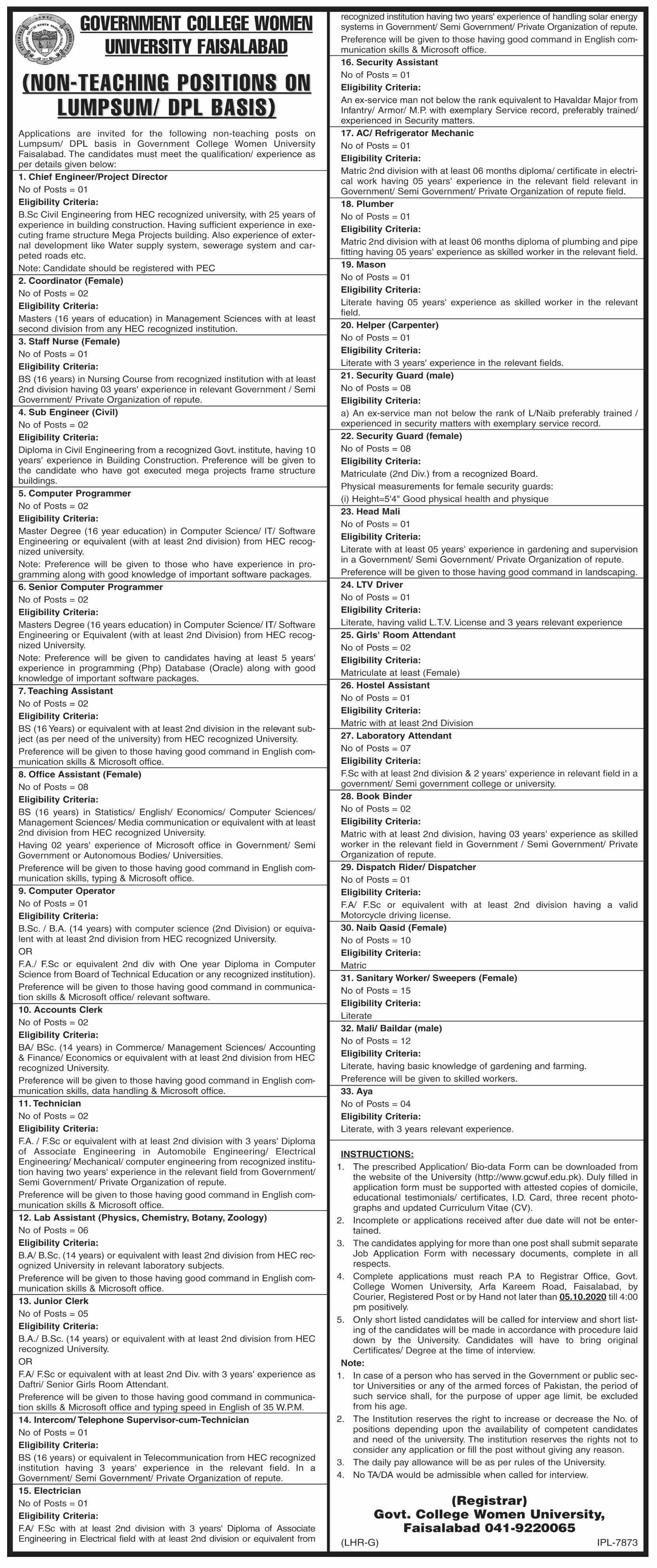 Government College Women University jobs newspaper ad for Chief Engineer in Faisalabad
