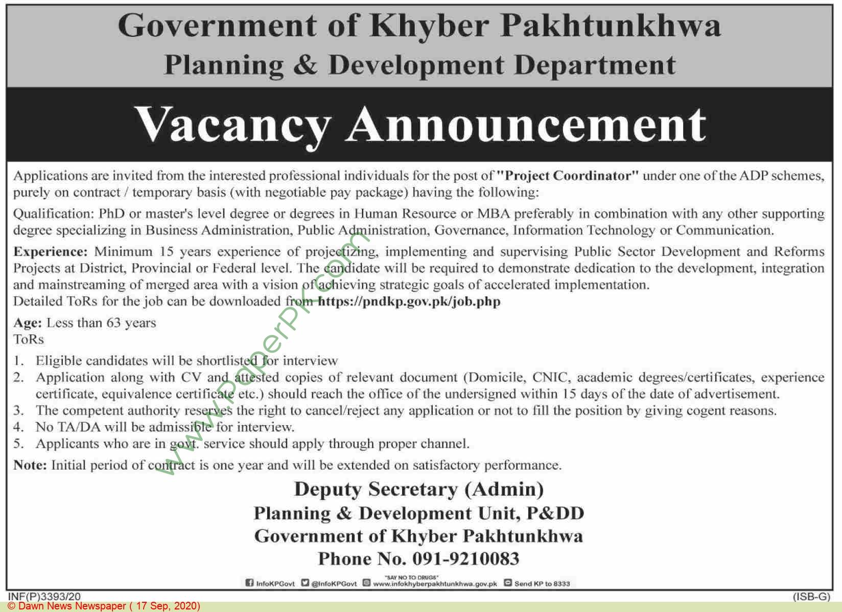 Planning & Development Department jobs newspaper ad for Project Coordinator in Peshawar