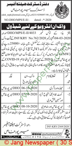 District Health Authority jobs newspaper ad for Community Midwife in Mirpur Khas