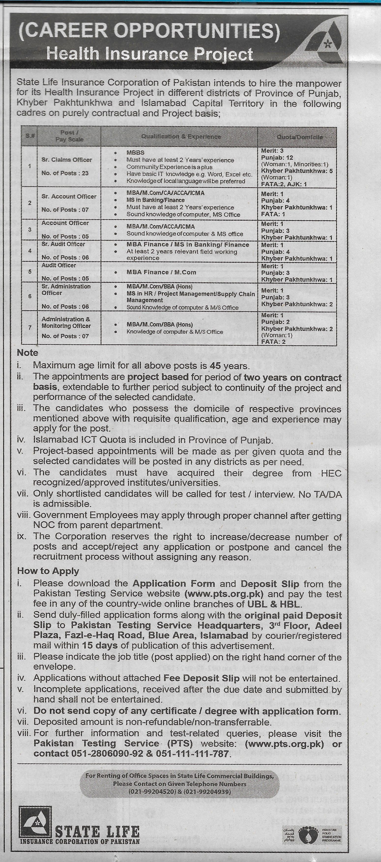 Senior Claims Officer jobs in Islamabad at State Life ...