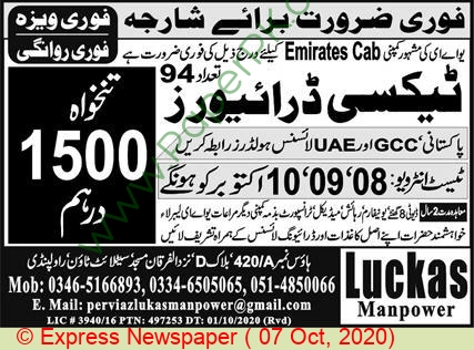 Taxi Driver Jobs In Rawalpindi At Luckas Manpower Abroad On October 07 2020 Paperads Com