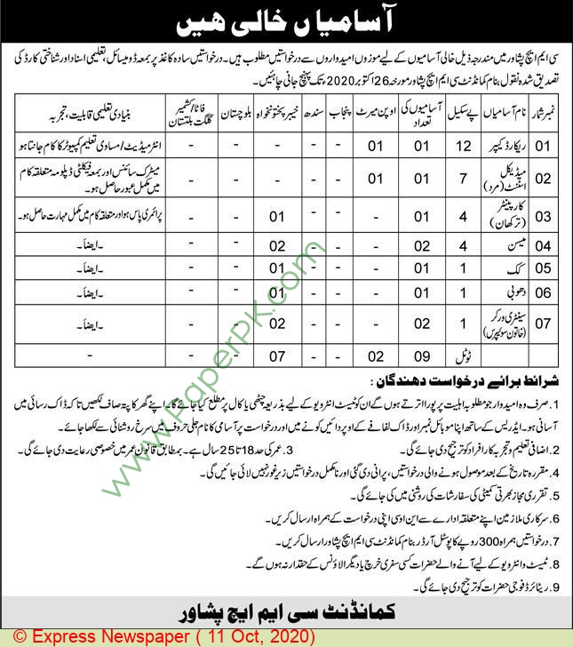 Combined Military Hospital jobs newspaper ad for Record Keeper in Peshawar
