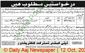 Board Of Revenue jobs newspaper ad for Patwari in Peshawar