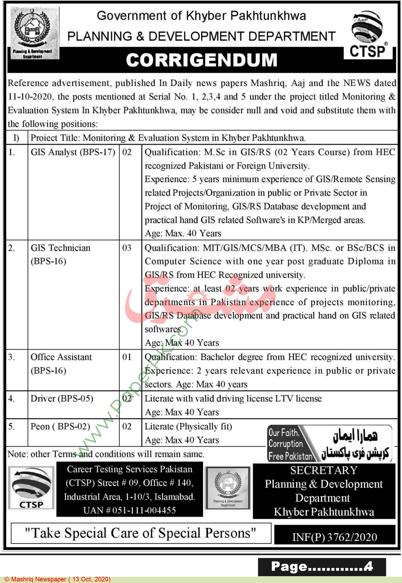Planning & Development Department jobs newspaper ad for Driver in Peshawar