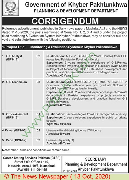 Planning & Development Department jobs newspaper ad for Office Assistant in Peshawar