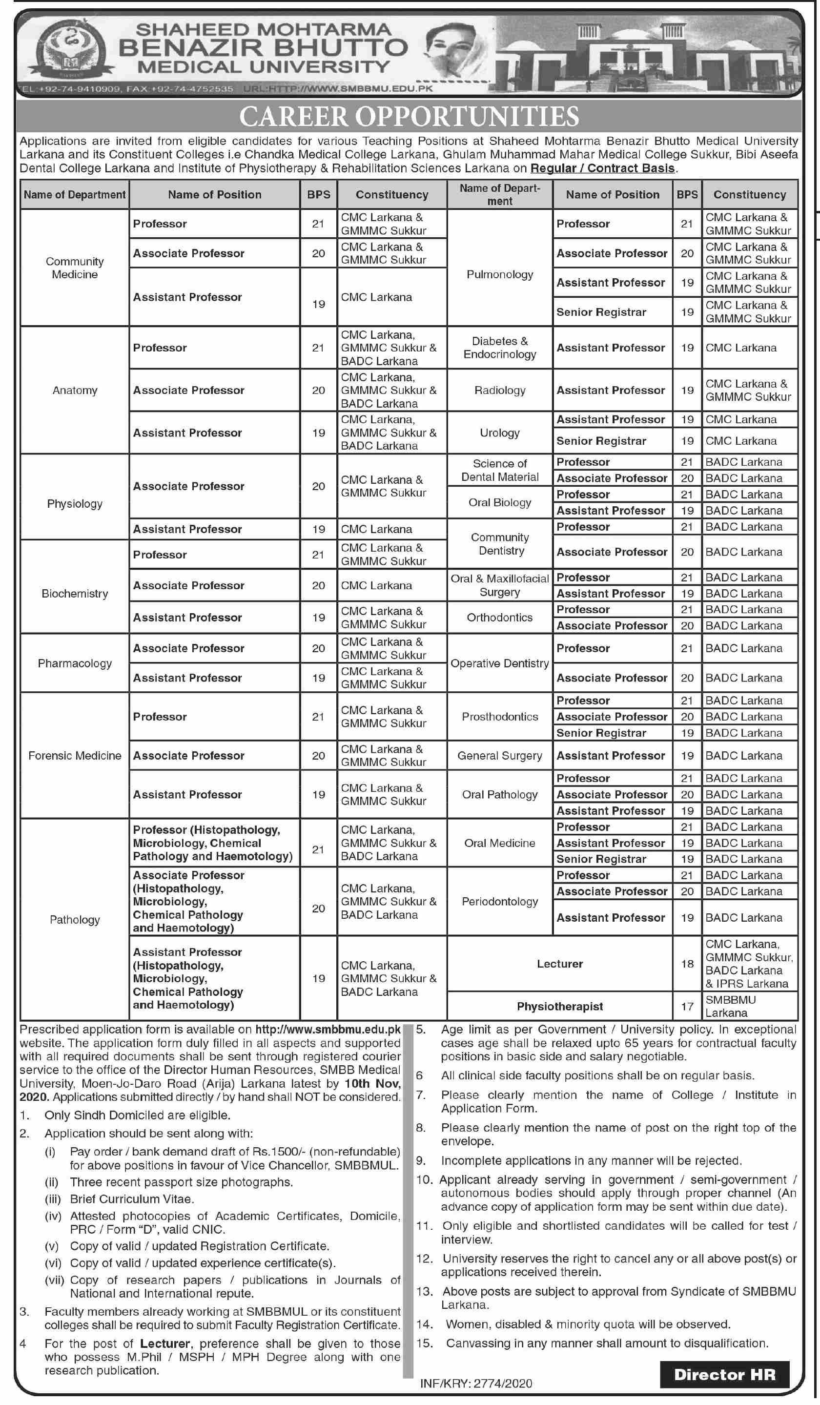 Shaheed Mohtarma Benazir Bhutto Medical University jobs newspaper ad for Professor in Larkana
