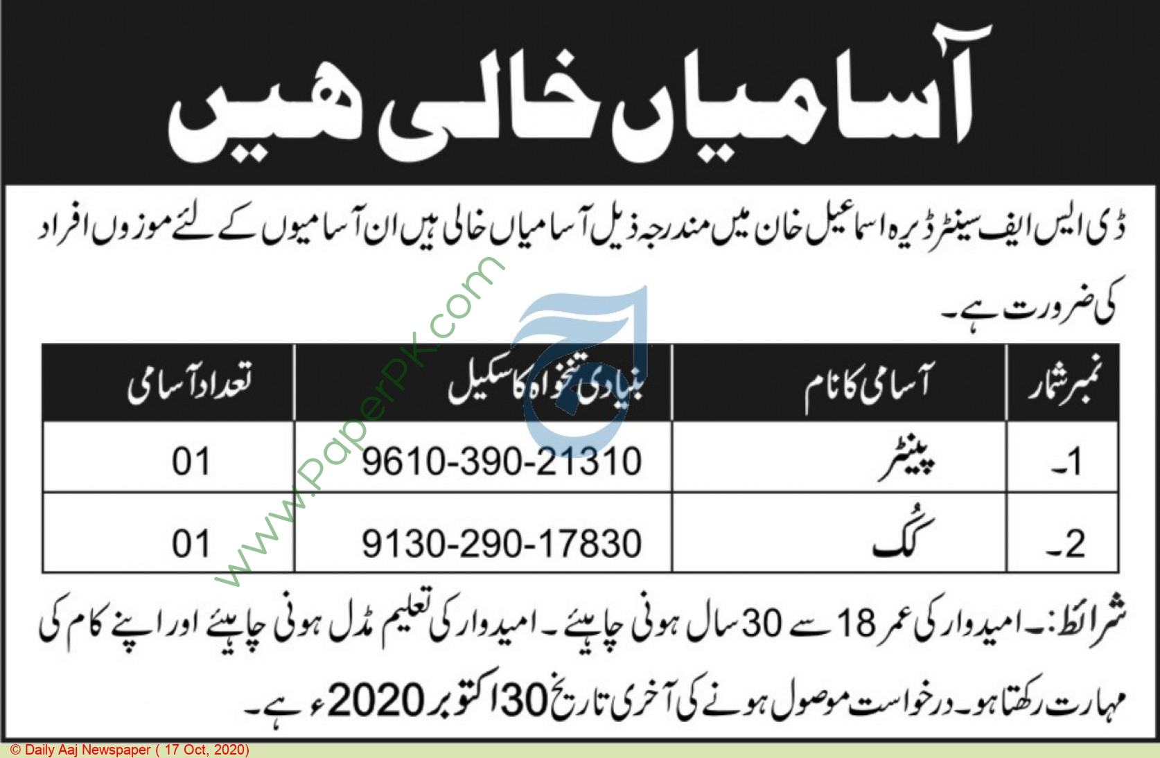 Defence Security Force Center jobs newspaper ad for Cook in Dera Ismail Khan
