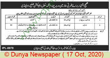 School Education Department jobs newspaper ad for Driver in Rawalpindi