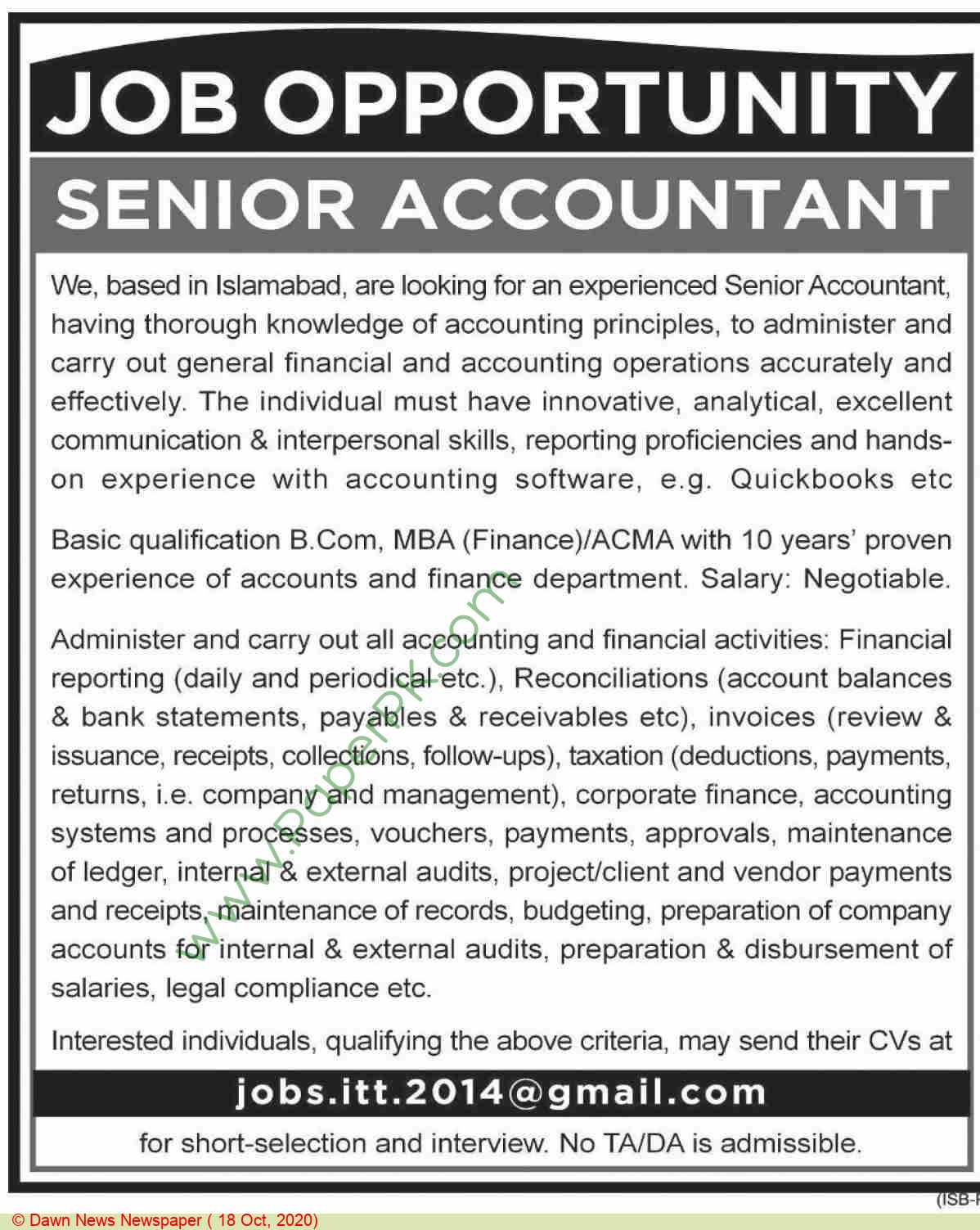 Islamabad Based Company jobs newspaper ad for Senior Accountant in Islamabad
