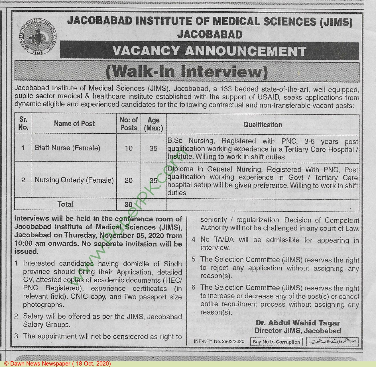 Institute Of Medical Sciences jobs newspaper ad for Staff Nurse in Jacobabad on 2020-10-18