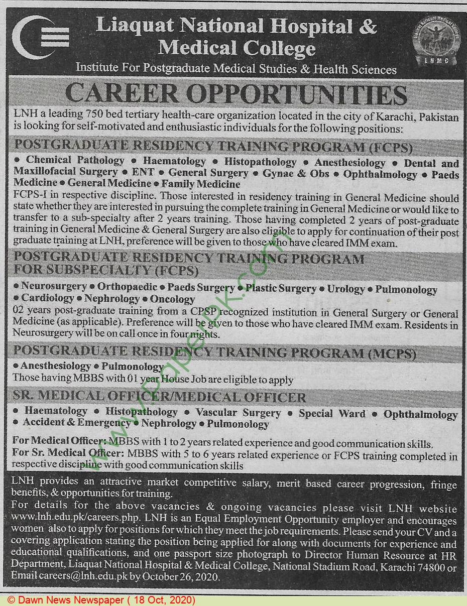 Liaquat National Hospital & Medical College jobs newspaper ad for Medical Specialist in Karachi