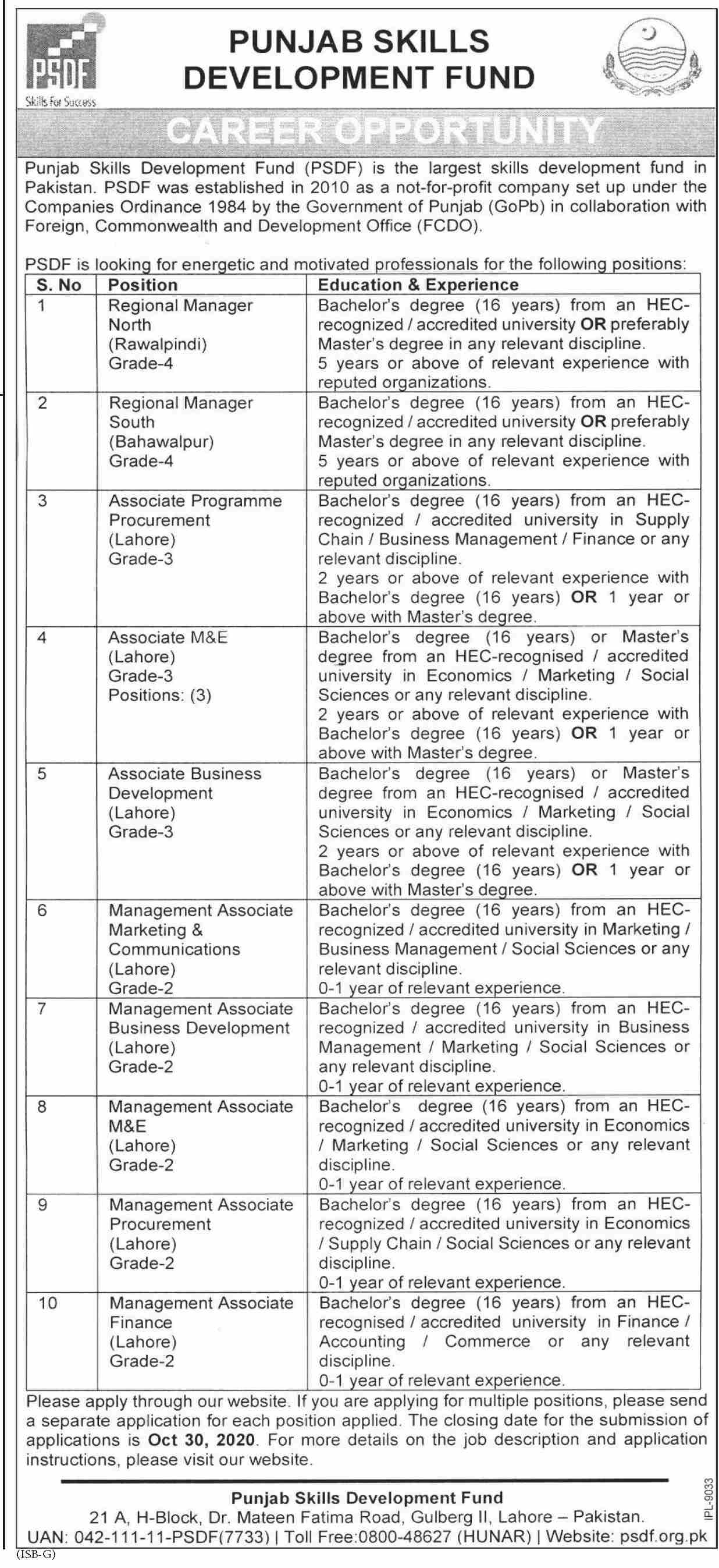 Punjab Skills Development Fund jobs newspaper ad for Associate Monitoring & Evaluation in Lahore