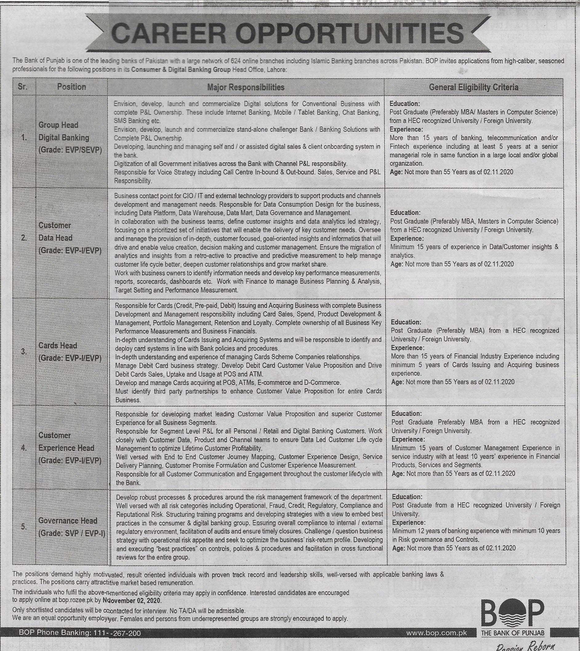 The Bank Of Punjab jobs newspaper ad for Customer Experience Head in Lahore