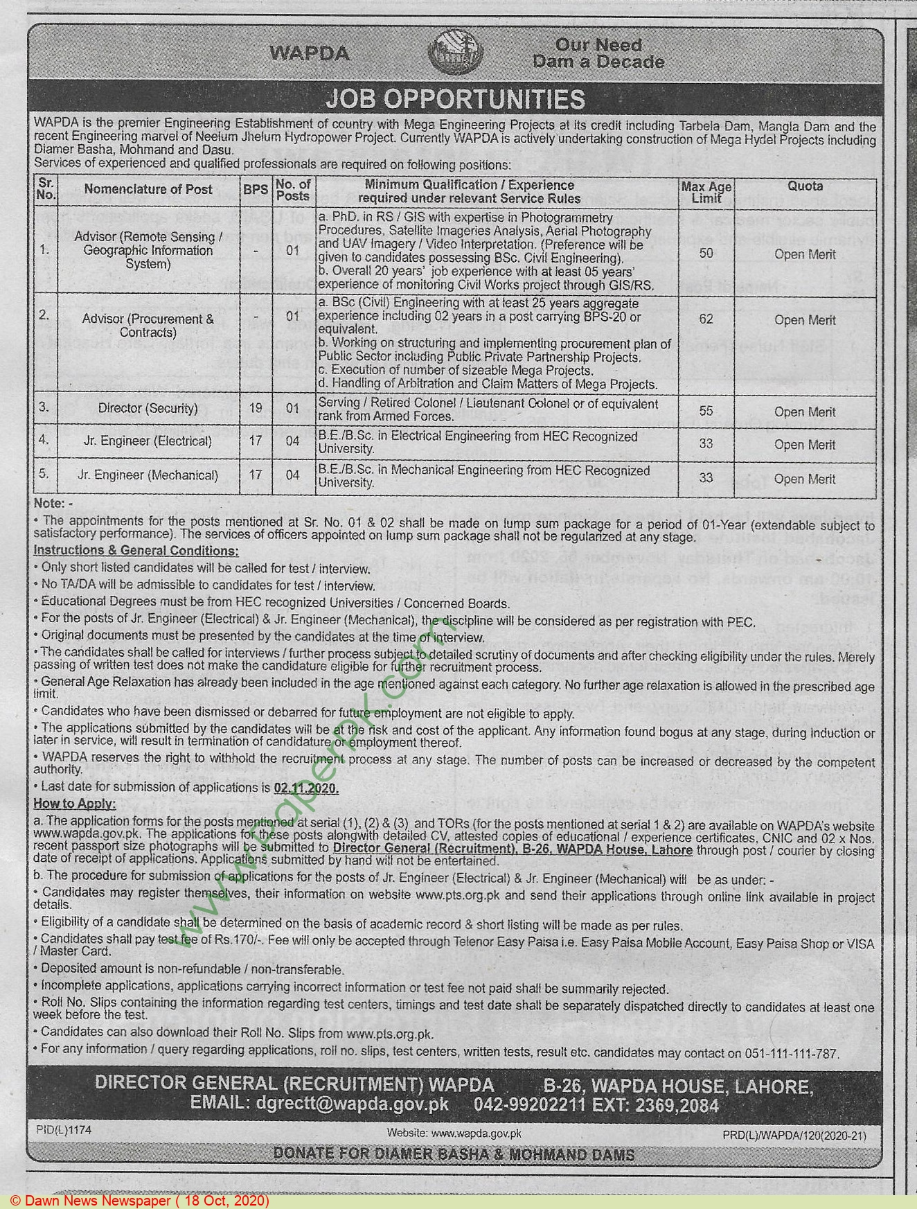Water and Power Development Authority jobs newspaper ad for Director Security in Lahore