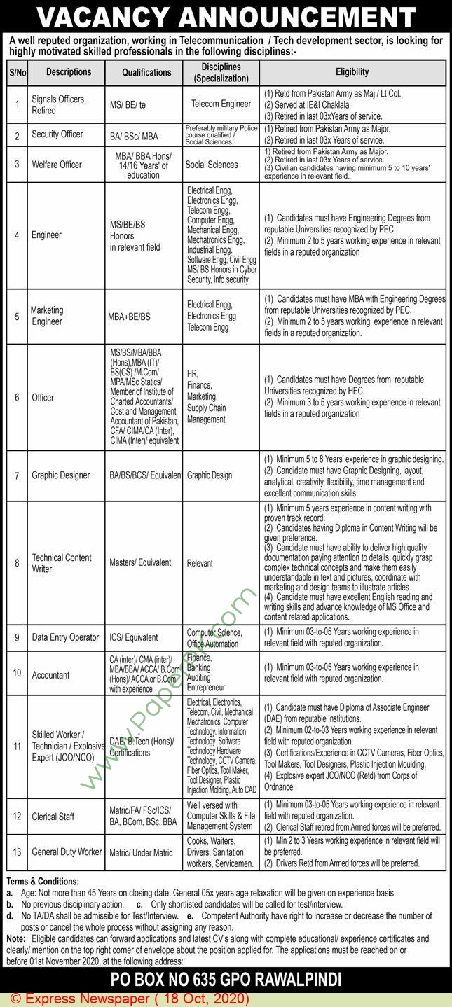 Government of Punjab jobs newspaper ad for Welfare Officer in Rawalpindi