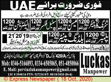 Luckas Manpower jobs newspaper ad for Building Painter in Rawalpindi