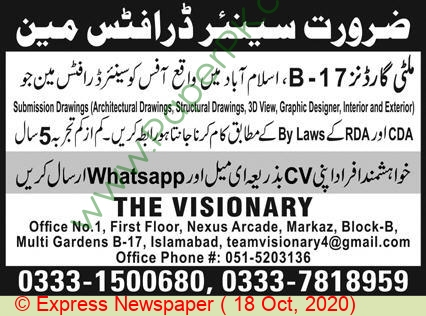The Visionary jobs newspaper ad for Senior Draftsman in Islamabad