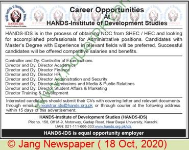 Hands Institute Of Development Studies jobs newspaper ad for Director in Karachi
