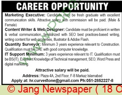 Islamabad Based Company jobs newspaper ad for Content Writer in Islamabad