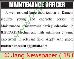 Karachi Based Company jobs newspaper ad for Maintenance Officer in Karachi