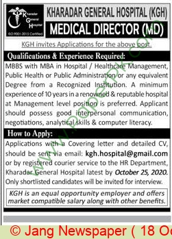 Kharadar General Hospital jobs newspaper ad for Medical Director in Karachi
