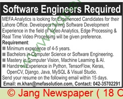 Mefa Analytics Lahore Jobs For Software Engineer advertisemet in newspaper on October 18,2020